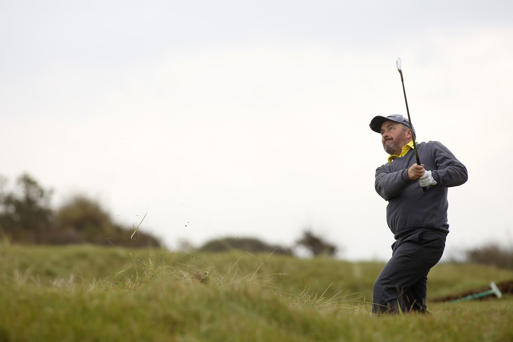 BRAUNTON, ENGLAND - OCTOBER 27: Damien McGrane plays a shot during day four of The 2016 PGA Play-Offs on October 27, 2016 in Braunton, England. (Photo by Julian Herbert/Getty Images)