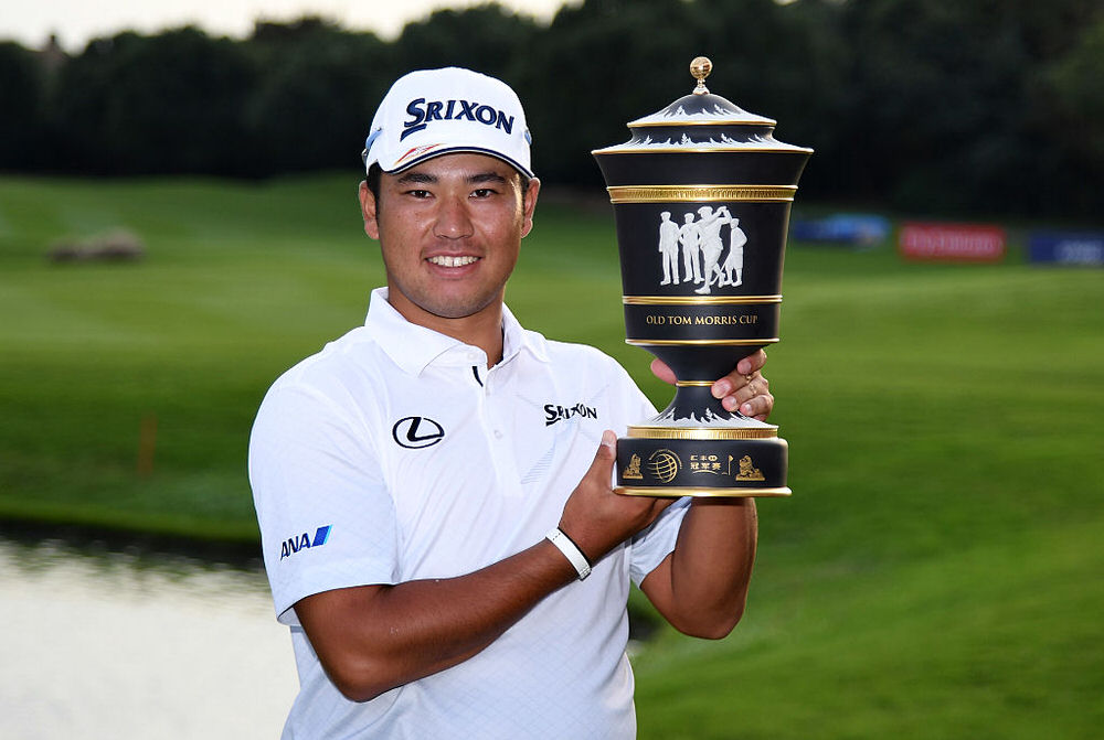 SHANGHAI, CHINA - OCTOBER 30:  Hideki Matsuyama of Japan with the winners trophy the final round of the WGC - HSBC Champions at the Sheshan International Golf Club on October 30, 2016 in Shanghai, China.  (Photo by Ross Kinnaird/Getty Images)