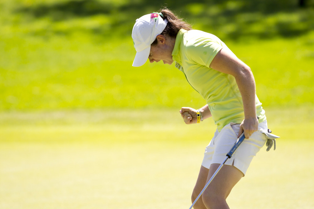 Leona Maguire of Ireland reacts after sinking her par putt at the 18th hole following the fourth round of the 2016 Espirito Santo Trophy at El Camaleon G.C. in Riviera Maya, Mexico on Saturday, Sept. 17, 2016. (Copyright USGA/Steven Gibbons)