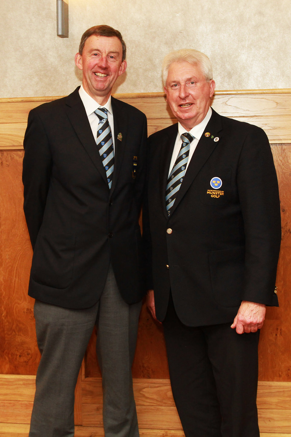 Newly elected Chairman of Munster Golf Jim Long (Monkstown) pictured with outgoing Chairman John Moloughney. at the Munster Golf Annual Delegates Meeting, Tuesday 29th Nov 2016, Hibernian Hotel Mallow. Picture: Niall O'Shea