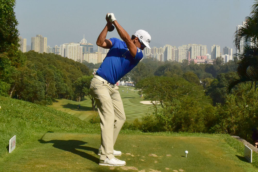 HONG KONG - DECEMBER 09: Rafa Cabrera Bello of Spain tees off on the first hole during the second round of the USB Hong Kong Open at The Hong Kong Golf Club on December 9, 2016 in Hong Kong, Hong Kong. (Photo by Warren Little/Getty Images)