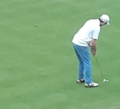 Eamonn O'Driscoll putts for birdie on the first in the second round of Stage One on Monday.
