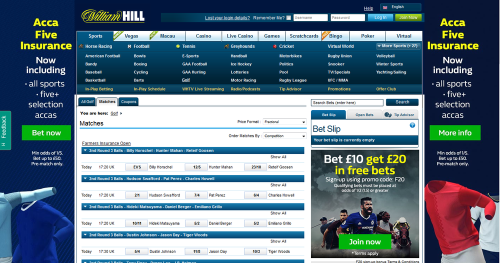 William Hill golf betting matches page