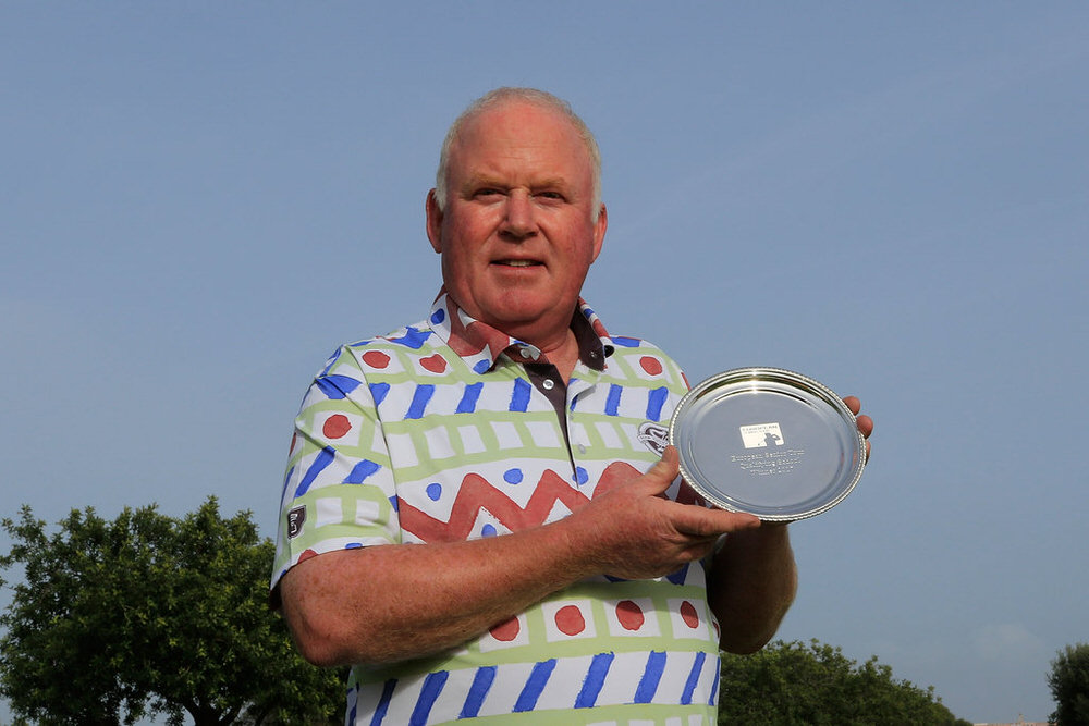 LAGOA, ALGARVE, PORTUGAL - FEBRUARY 02: Brendan McGovern of Ireland poses with the winner's salver after the final round of the European Senior Tour Qualifying School Finals on February 2, 2017 in Lagoa, Algarve, Portugal. Picture: Phil Inglis/Getty Images