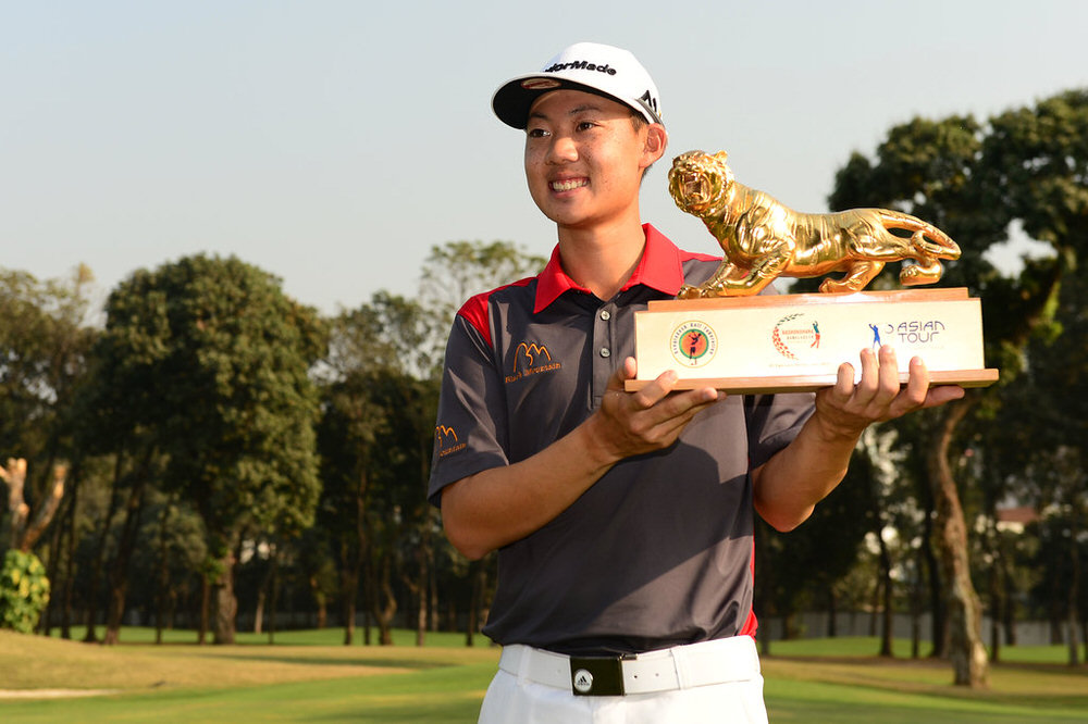 Thailand's Jazz Janewattananond with the Bashundhara Bangladesh Open trophy. Picture: Asian Tour