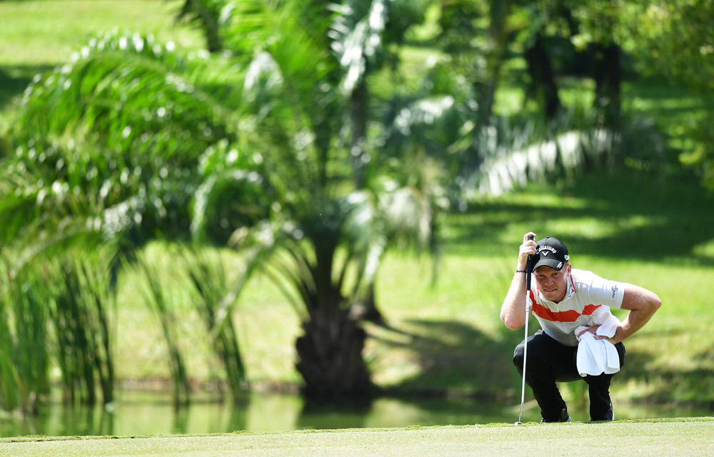 KUALA LUMPUR, MALAYSIA - FEBRUARY 11: Danny Willett of England lines up a putt during Day Three of the Maybank Championship Malaysia at Saujana Golf Club on February 11, 2017 in Kuala Lumpur, Malaysia. (Photo by Stuart Franklin/Getty Images)