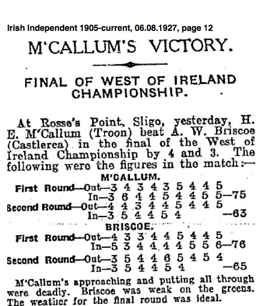 The Irish Independent's report of the 1927 West of Ireland final, which appeared on Saturday,August 6, 1927.