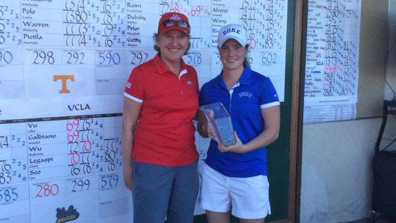 Leona Maguire with her trophy. Picture courtesy Duke Sports Information