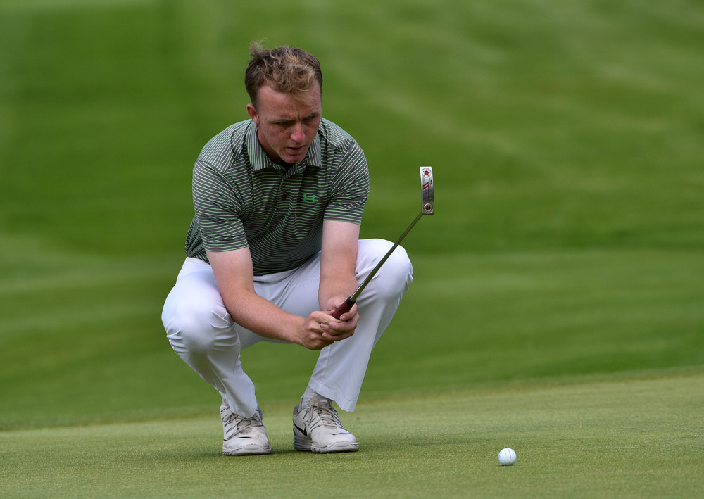 Thomas Mulligan (Co Louth) lining up his putt on the 15th green during the final round of the 2016 Irish Boys Amateur Open Championship at Castle Golf Club (01/07/2016). Picture by  Pat Cashman