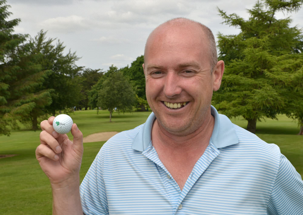 Joe Lyons, pictured after a hole in one in last year's Irish Over-30s Amateur Open Championship at Limerick.  Picture by  Pat Cashman