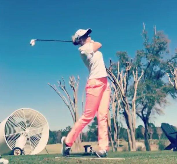 Stephanie Meadow practising for her second start of the LPGA Tour season
