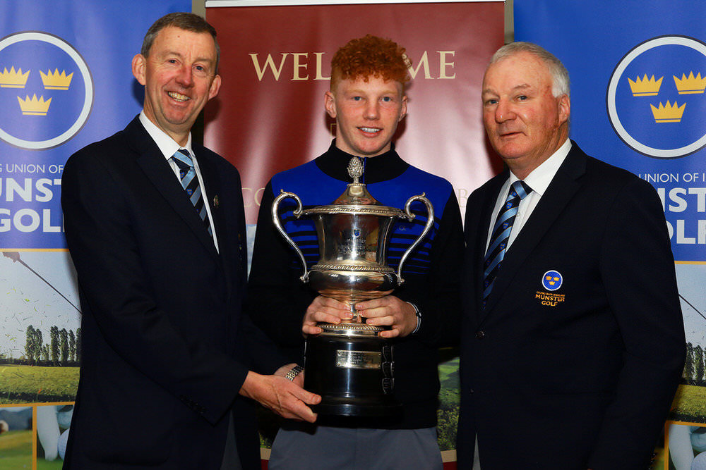 Jim Long, Chairman Munster Golf presenting the Munster Students Championship Trophy to John Murphy (Kinsale/Maynooth University), also included is Dave Prendergast, Match Secretary Munster Golf. Picture: Niall O'Shea