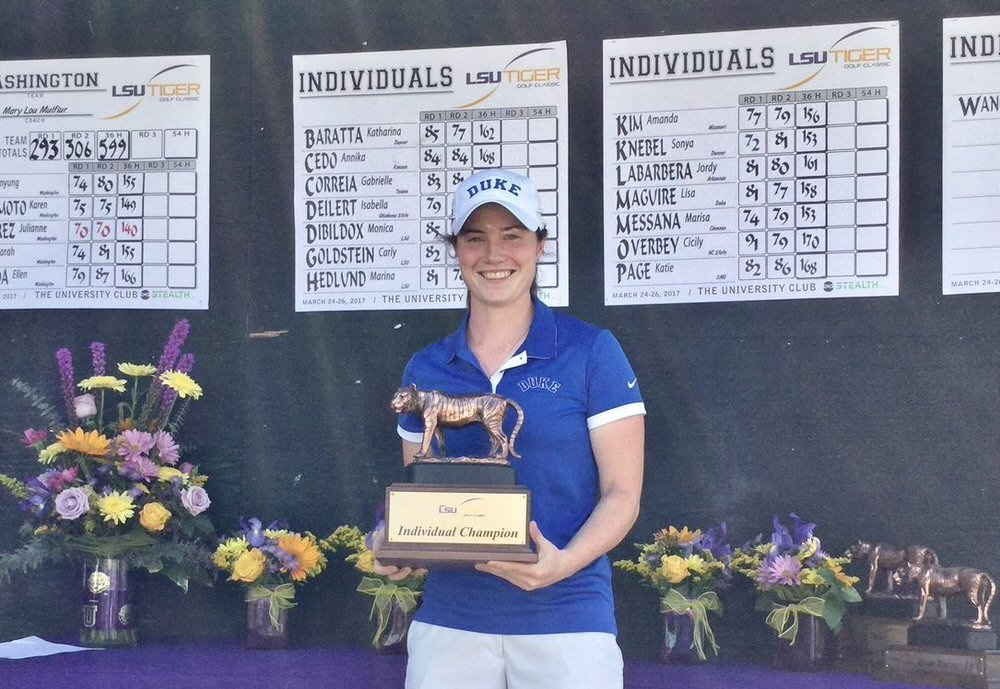 Leona Maguire with the 2017 LSU Tiger Golf Classic trophy