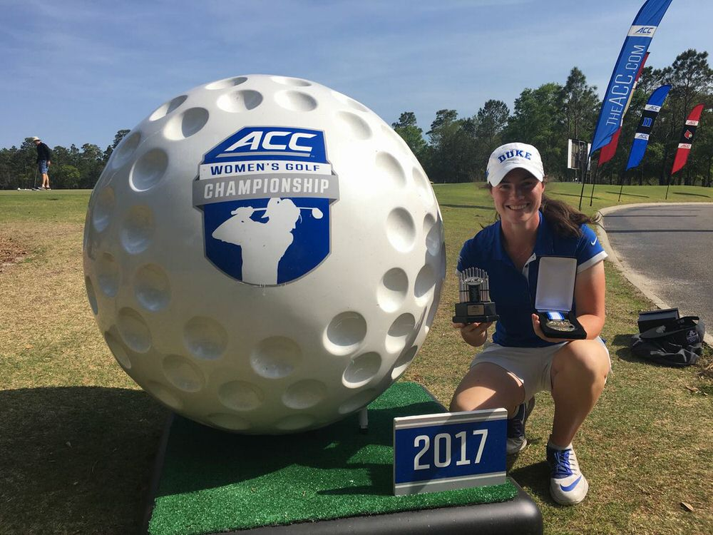 Ireland's Leona Maguire celebrates his third win of the year and seventh for Duke University