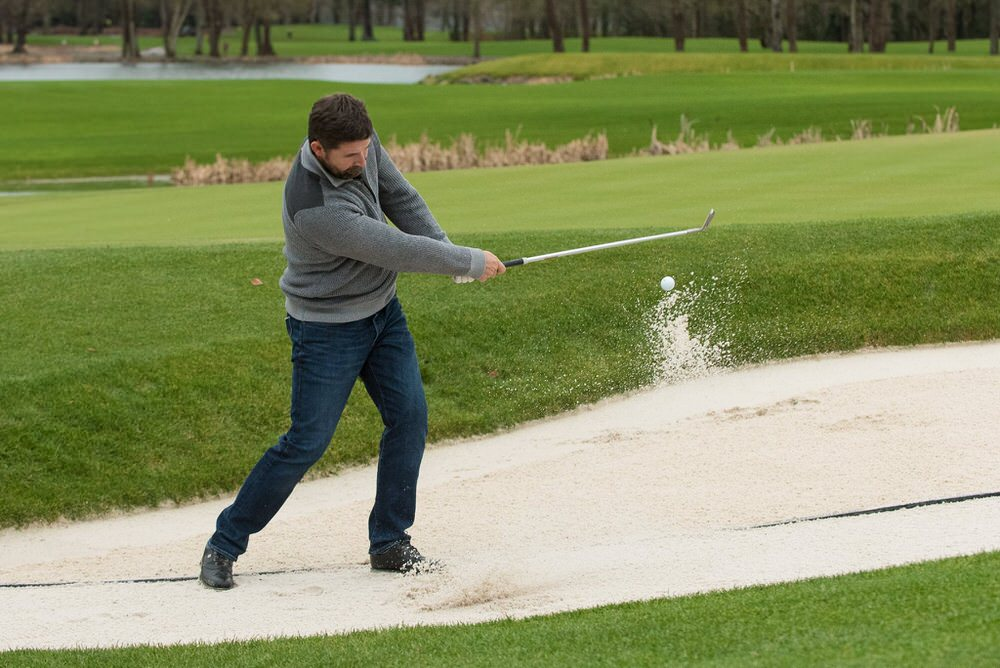 Padraig Harrington test the sand in the bunkers at Adare Manor during his winter break. JP McManus's Co Limerick venue is expected to bid for the 2026 Ryder Cup
