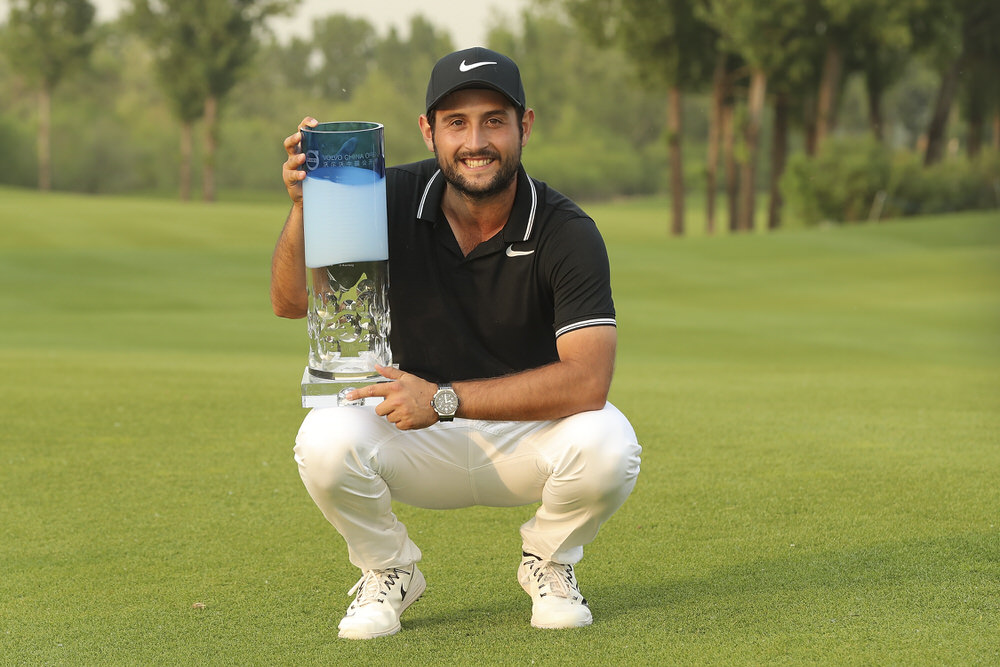 BEIJING, CHINA - APRIL 30:  Alexander Levy of France holds the trophy celebrates after winning the 2017 Volvo China Open at Topwin Golf and Country Club on April 30, 2017 in Beijing, China.  (Photo by Lintao Zhang/Getty Images)