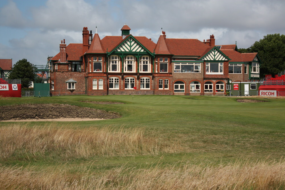 The 18th green and the clubhouse at Royal Lytham & St Annes