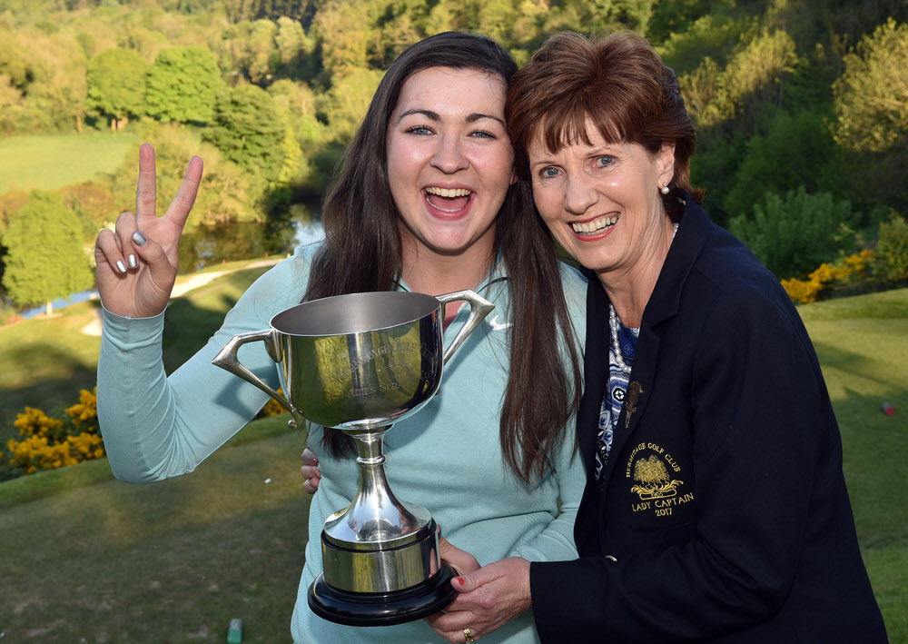 On the Double......Defending champion Ciara Casey (Hermitage) with Anne Ward (Lady Captain, Hermitage Golf Club) after her victory in the Brady's (Castleknock) sponsored 46th Hermitage Ladies Scratch Cup at Hermitage Golf Club. (07/05/2017) Picture by  Pat Cashman
