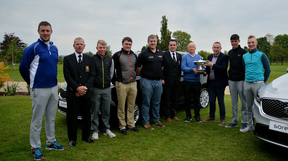 Prizewinners (from left to righ), Paul O'Hara (Kilkenny), Ollie Cullen (Club President Kilkenny), Cathal Butler (Kinsale), Billy McGarry (Nenagh), Michael Ryan Jnr (New Ross), Rob O'Shea (Club Captain, Kilkenny), Graham Nugent (Kilkenny, winner), sponsor David Buggy (Kia Motors), Richard Louis Duggan (Kilkenny) and Luke Donnelly (Kilkenny,