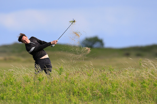 Colin Woodroofe (Dun Laoghaire) blasts out of the rough in round two of the East of Ireland Championship at County Louth Golf Club, Baltray, Co Louth, Ireland. 03/06/2017 Picture: Golffile | Fran Caffrey
