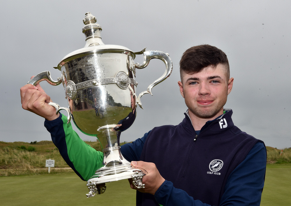 Seventeen-year-old Reece Black (Hilton Templepatrick) won the 2017 East of Ireland Championship at County Louth Golf Club. Picture by  Pat Cashman