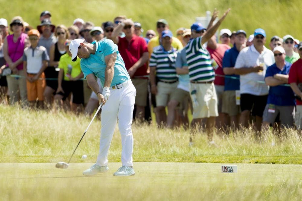 Rory McIlroy hits his tee shot on the first hole during the second round of the 2017 U.S. Open at Erin Hills in Erin, Wis. on Friday, June 16, 2017. (Copyright USGA/John Gress)