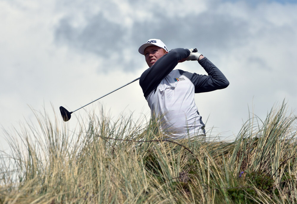 Robin Dawson (Tramore) driving at the 5th tee during the final round of the Flogas Irish Amateur Open Championship at Royal County Down Golf Club. Picture by  Pat Cashman