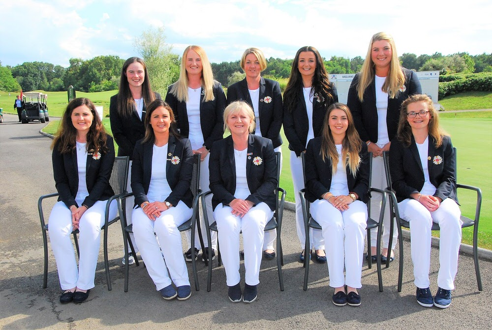 GB&I's 2017 Vagliano Trophy team. Back row (left to right): Leona Maguire, India Clyburn, Helen Hewlett (team manager), Sophie Lamb, Alice Hewson. Front row (l to r): Olivia Mehaffey, Maria Dunne, Elaine Farquharson-Black, Gemma Clews, Annabel Wilson. Picture by Cal Carson Golf Agency.