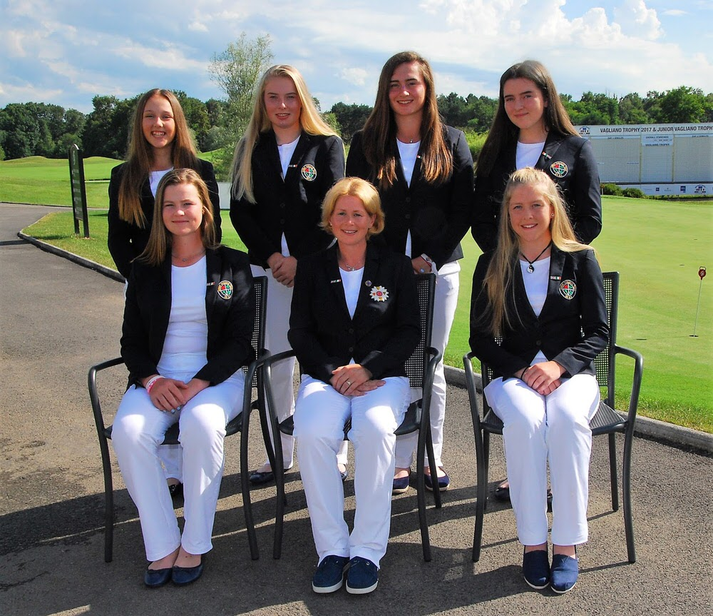 Junior Vagliano team captain Claire Coughlan-Ryan, centre front row, with the GB and I squad of six for the Under-16s' Junior Vagliano Trophy match against Team Europe's youngsters. Back row (left to right): Ffion Tynan, Caitlin Whitehead, Lily May Humphreys, Carys Worby. Front: Euphemie Rhodes, Claire Coughlan-Ryan, Sarah Byrne. Picture by Cal Carson Golf Agency.
