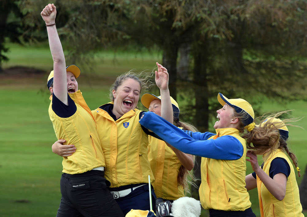Leinster girls celebrate with Anna Foster after she won her match on the 16th green during the final day of the 2017 ILGU Interprovincial Matches at Shannon Golf Club. (13/07/2017). Picture by  Pat Cashman
