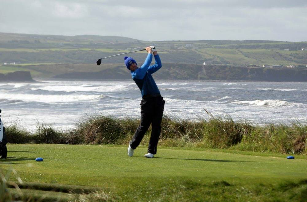 Irish Amateur Open champion Peter O'Keeffe in action at Lahinch. Picture © Gordon Adair
