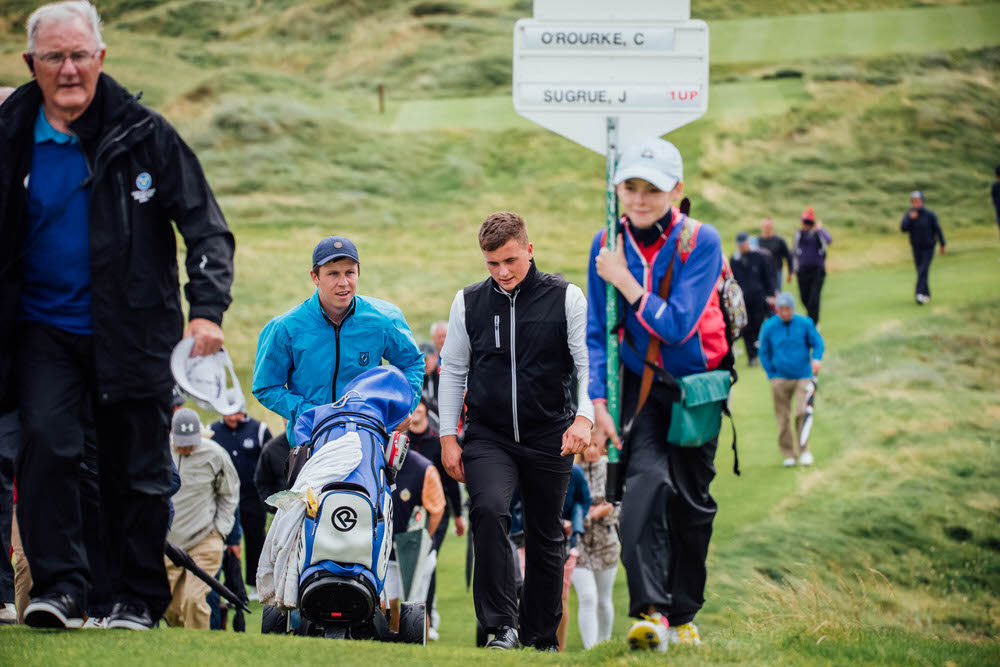 James Sugrue (Mallow) and his caddie Mark MacGrath (Lahinch/Limerick) during the final of the South of Ireland Golf Championship in Lahinch. Picture ©Brian Arthur/Golffile