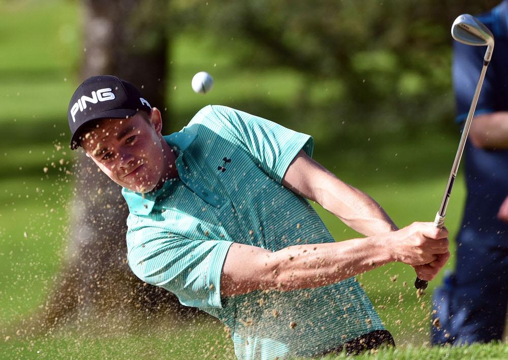 Winner Stuart Grehan (Tullamore) bunkered at the 15th green during the final round of the 2017 Sherry Fitzgerald - Davitt & Davitt sponsored Mullingar Scratch Trophy at Mullingar Golf Club. Picture by  Pat Cashman