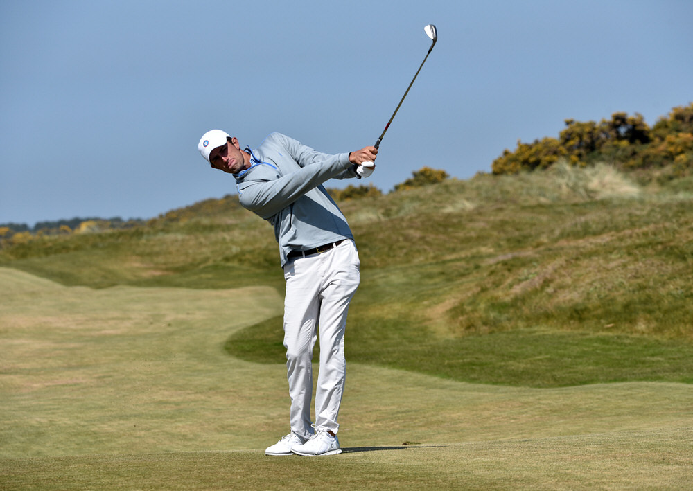 Stewart Hagestad (Deepdale, USA) pitching to the 18th tee during his practice round for the 2017 Flogas Irish Amateur Open Championship at Royal County Down Golf Club (10/05/2017). Picture by  Pat Cashman
