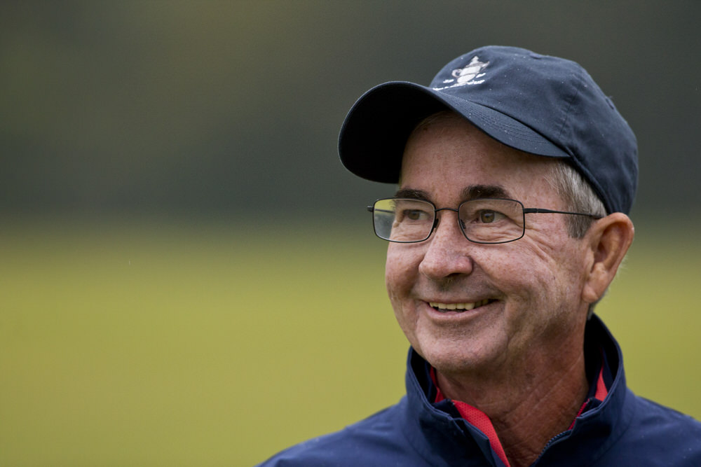 """Captain John """"Spider"""" Miller, of Bloomington, Ind., during the 2017 USA Team Walker Cup Squad practice session at Los Angeles Country Club in Los Angeles, California on Thursday, December 15, 2016. (Copyright USGA/Steven Gibbons)"""