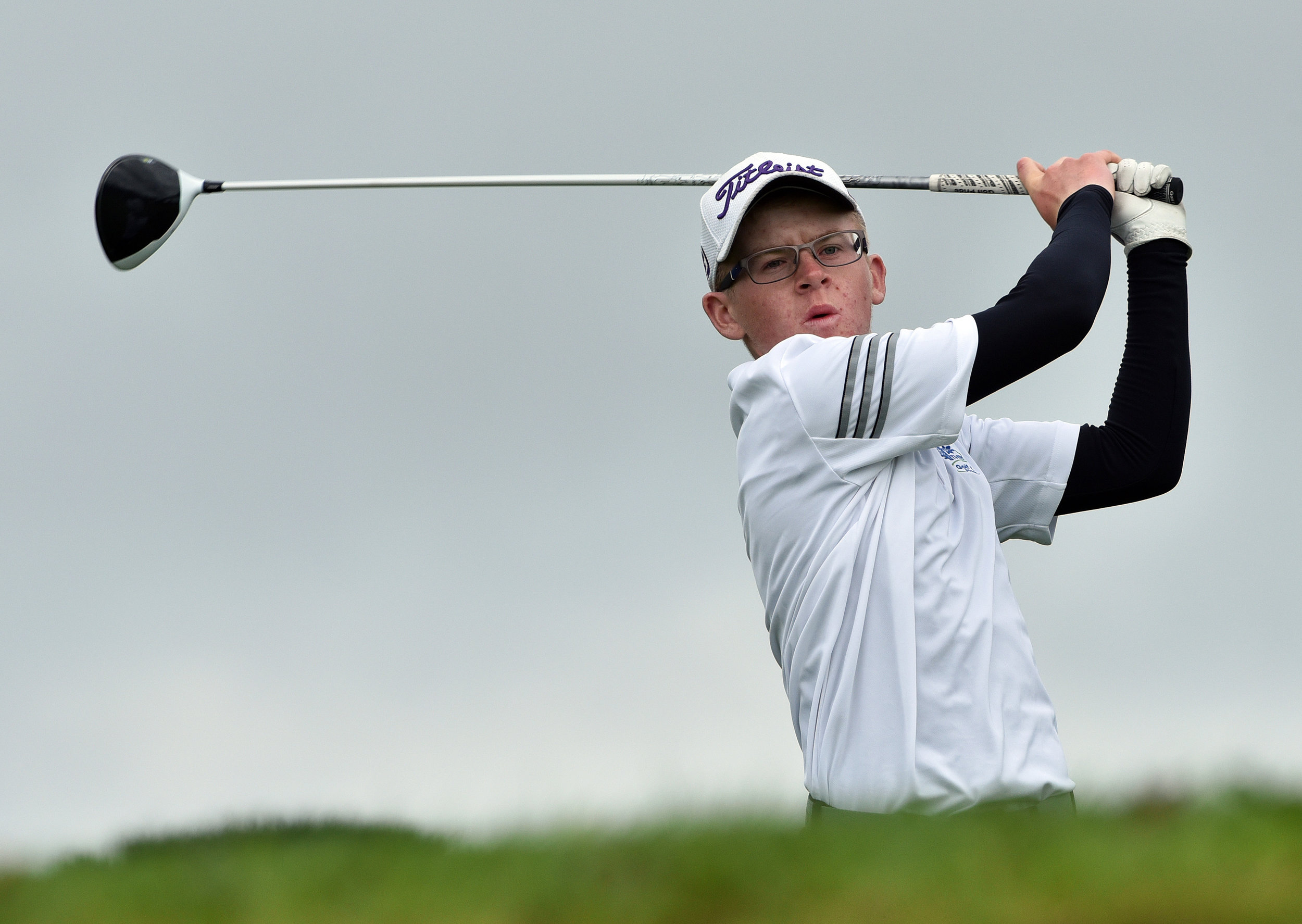 David Kitt (Athenry) driving at the 18th tee during the day four of the AIG Irish Amateur Close Championship at Galway Golf Club. Picture by  Pat Cashman
