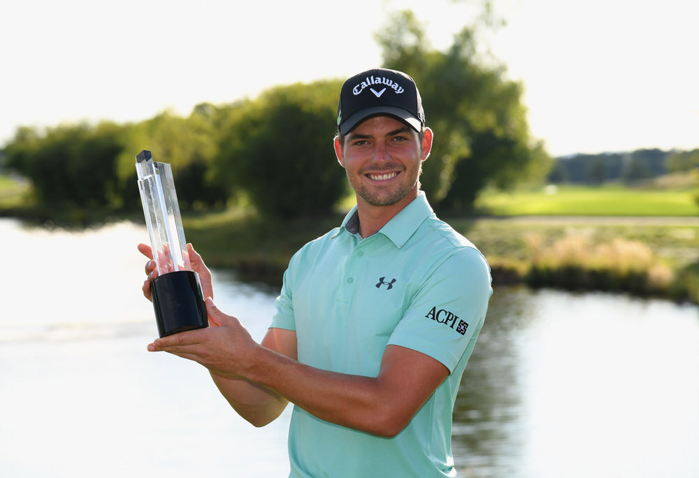 PRAGUE, CZECH REPUBLIC - SEPTEMBER 03: Haydn Porteous of South Africa poses with the trophy as he celebrates victory after the final round on day four of the D+D REAL Czech Masters at Albatross Golf Resort on September 3, 2017 in Prague, Czech Republic. (Photo by Ross Kinnaird/Getty Images)