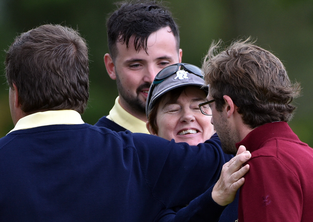High Tackle.......Antoininette Meghen (Adare Manor) is congradulated on winning her match on the 18th green in the semi final of the 2017 I Need Spain Irish Mixed Foursomes All Ireland Finals at Castlebar Golf Club today (08/09/2017). Picture by  Pat Cashman