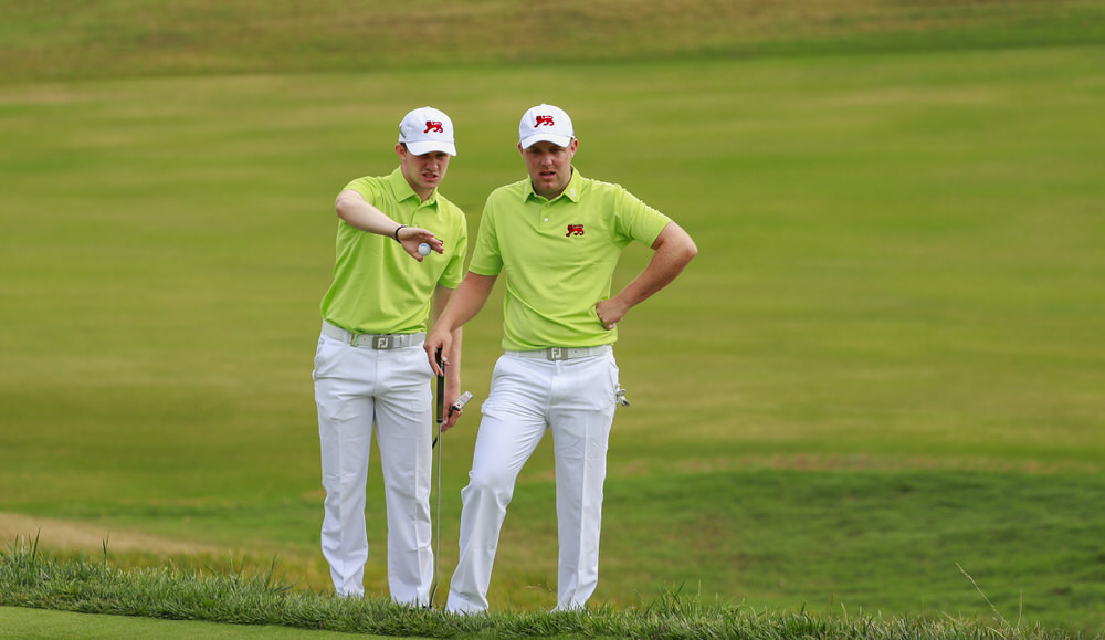 Connor Syme (GB&I) and Paul McBride (GB&I) , left to right, talk over their shot during foursomes at the 2017 Walker Cup at The Los Angeles Country Club in Los Angeles, Calif. on Saturday, Sept. 9, 2017. (Copyright USGA/Chris Keane)