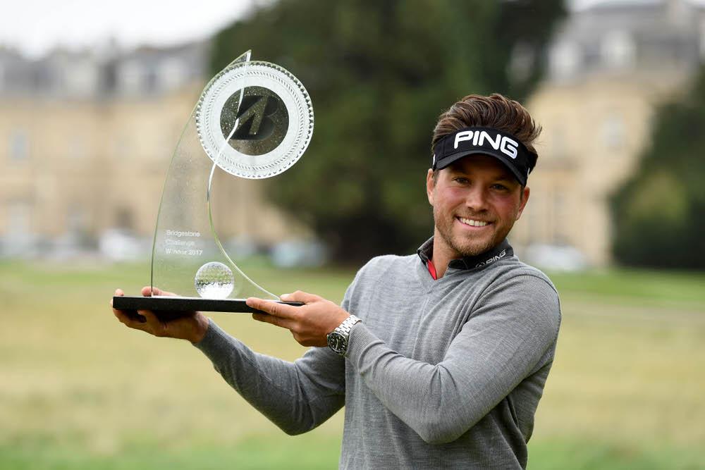 Oscar Lengden shows off the Bridgestone Challenge trophy. Picture:Ed Bagnall