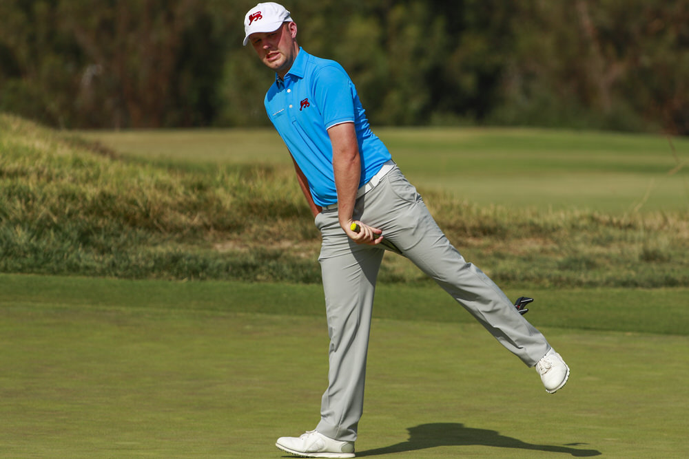 Paul McBride (GB&I) reacts to his missed putt on the 12th hole during singles at the 2017 Walker Cup at The Los Angeles Country Club in Los Angeles, Calif. on Sunday, Sept. 10, 2017. (Copyright USGA/Chris Keane)