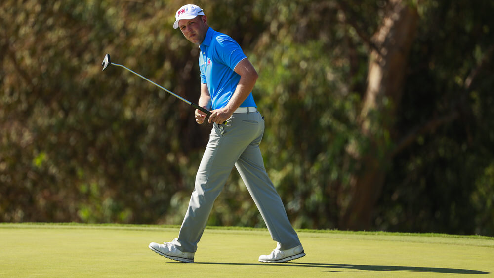 Paul McBride (GB&I) watches his missed birdie putt on the 14th hole during singles at the 2017 Walker Cup at The Los Angeles Country Club in Los Angeles, Calif. on Sunday, Sept. 10, 2017. (Copyright USGA/Chris Keane)