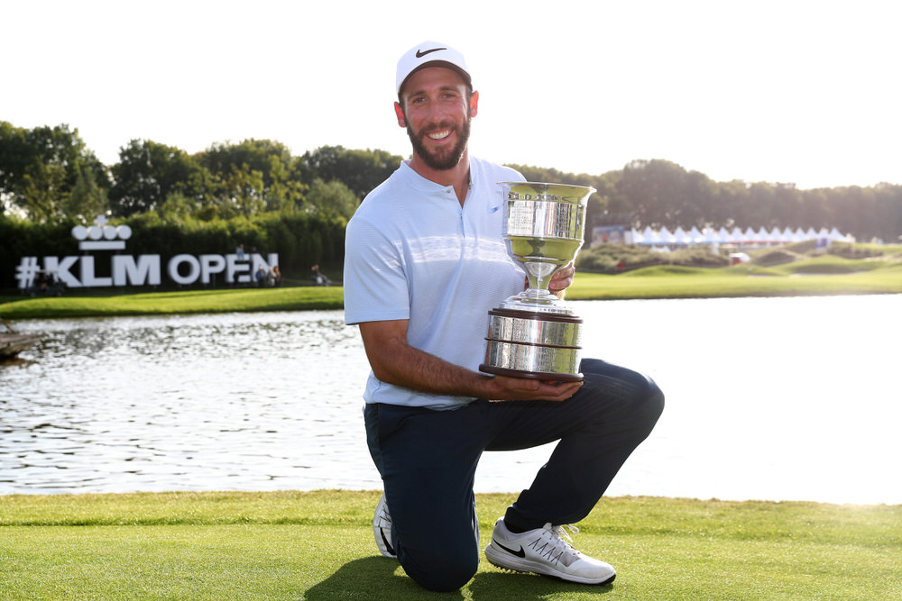 SPIJK, NETHERLANDS - SEPTEMBER 17: Romain Wattel of France poses with the trophy after winning on Day Four of the KLM Open at The Dutch on September 17, 2017 in Spijk, Netherlands. Photo by Dean Mouhtaropoulos/Getty Images
