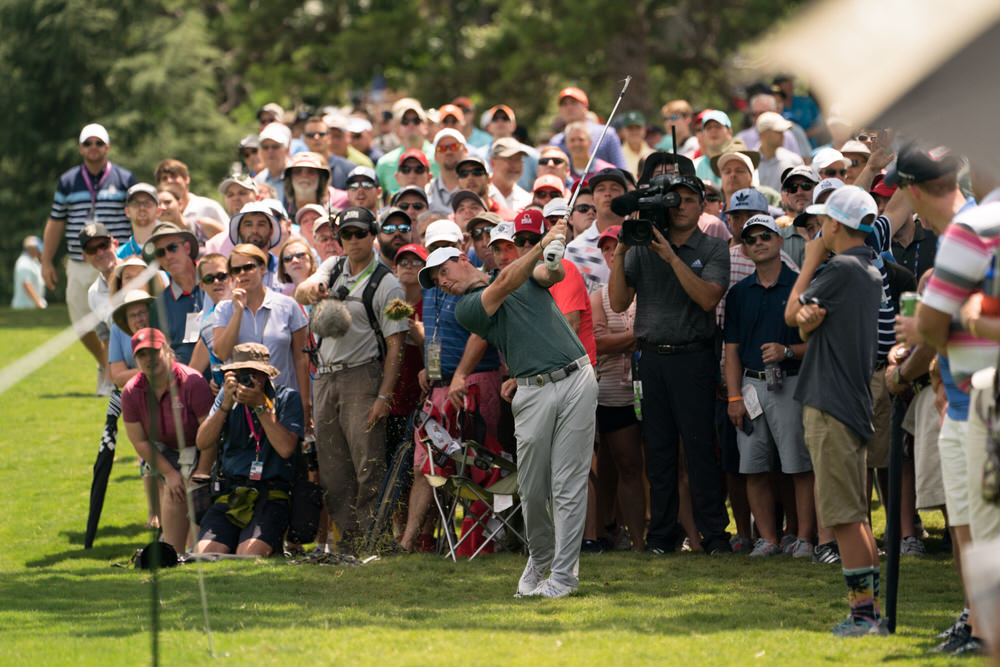 CHARLOTTE, NC - AUGUST 12: Rory McIlroy of Northern Ireland hits his shot on the second hole during Round Three for the 99th PGA Championship held at Quail Hollow Club on August 12, 2017 in Charlotte, North Carolina. (Montana Pritchard/PGA of America)