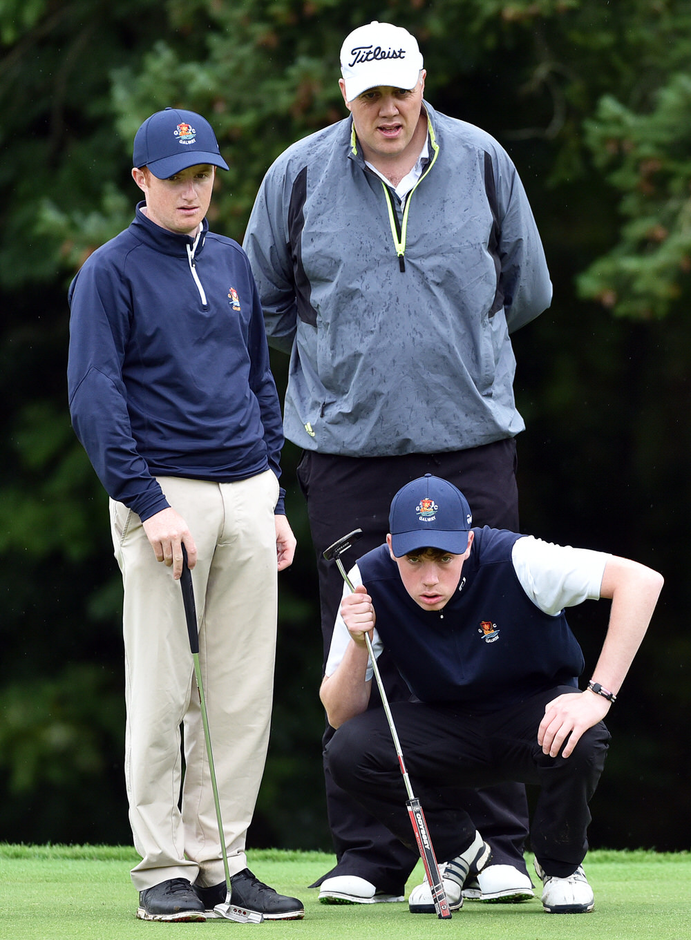 Liam Power and Ronan Mullarney (Galway) with their caddy David Mortimer on the 7th green in the AIG Barton Shield at Carton House today (20/09/2017). Picture by  Pat Cashman