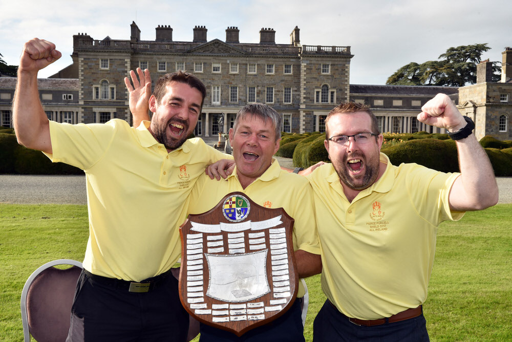 Tommy Quigley (Thurles) with his sons Shane (left) and Stephen after their victory in the final of the AIG Pierce Purcell Shield at Carton House (22/09/2017). Picture by  Pat Cashman
