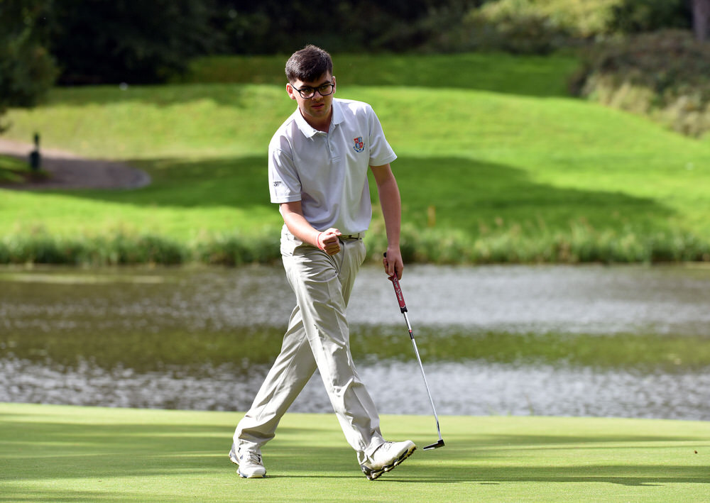 Ciaran Vaughan (Limerick) holes his birdie putt on the 16th green in the semi-final of the AIG Senior Cup at Carton House (22/09/2017). Picture by  Pat Cashman