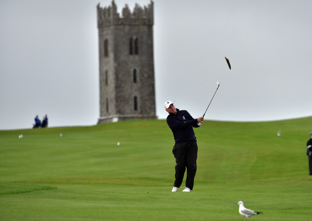 Garth McGimpsey (Royal Portrush) pitching to the 10th green in the semi final of the AIG Senior Cup at Carton House (22/09/2017). Picture by  Pat Cashman