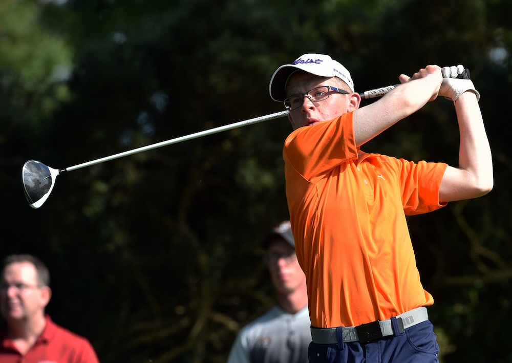 David Kitt (Athenry) driving at the 14th tee during day five of the AIG 2017 Irish Amateur Close Championship at Galway Golf Club (26/08/2017). Picture by  Pat Cashman