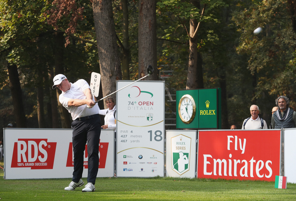 MONZA, ITALY - OCTOBER 13:  Marcus Fraser of Australia tees off on the 18th hole during day two of the Italian Open at Golf Club Milano - Parco Reale di Monza on October 13, 2017 in Monza, Italy.  (Photo by Christopher Lee/Getty Images)